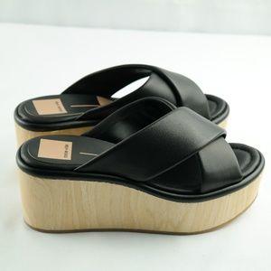 Dolce Vita Platform Slide Sandals Sz 7 Black NEW
